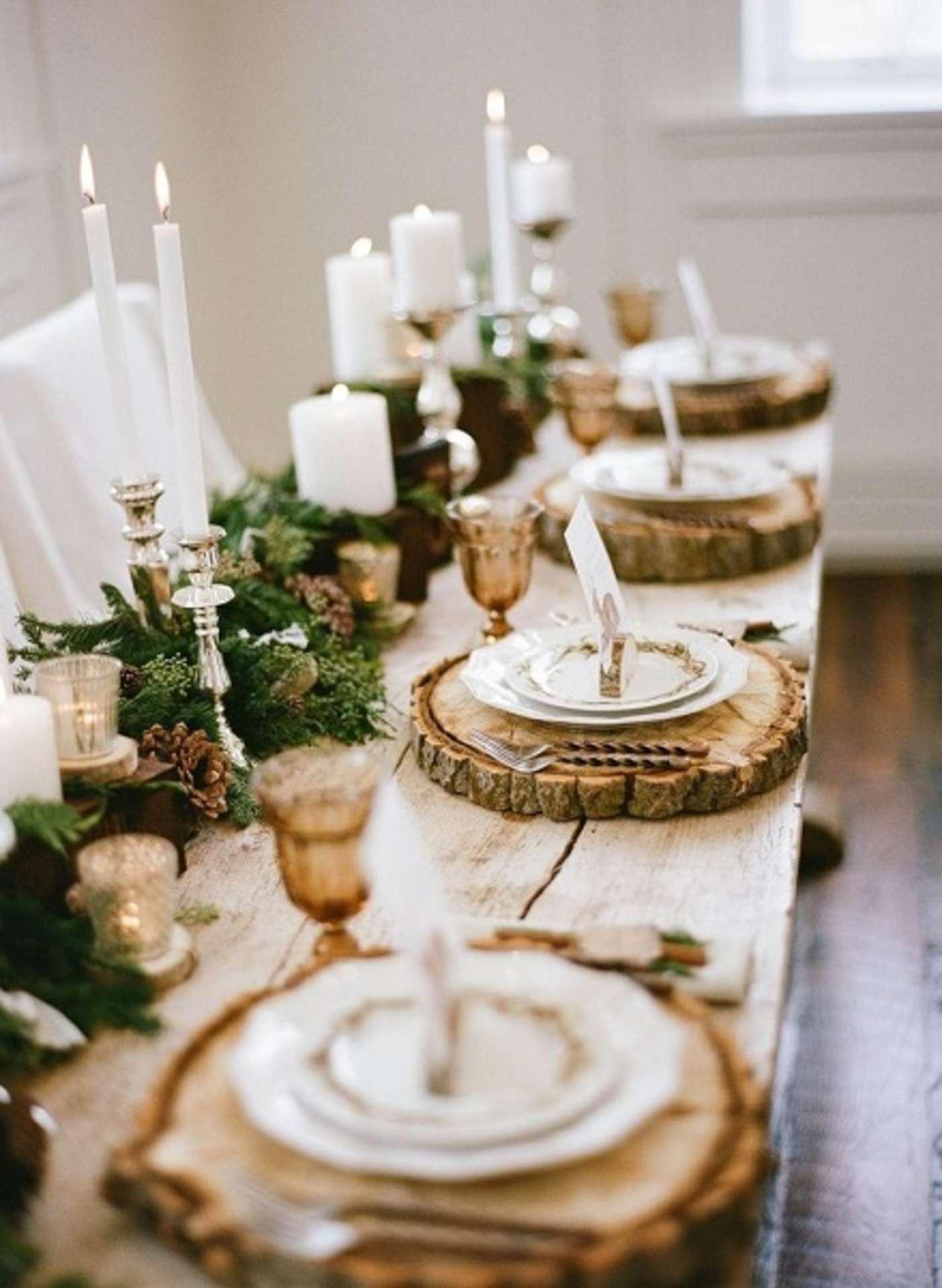 Ağaç kütüklerinden sunum masası