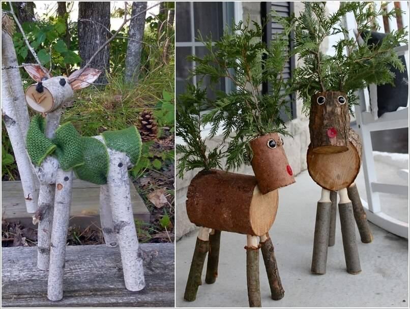 Kütükten yapılmış hayvan figürleri