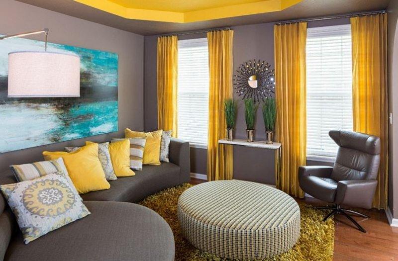 Gri Oturma Odası Dekorasyonu