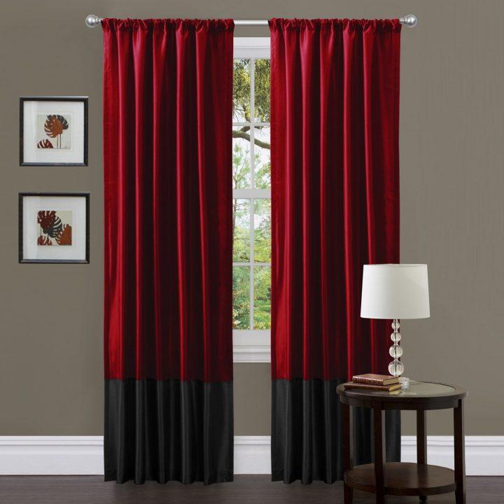 siyah ve kırmızı perde modeli